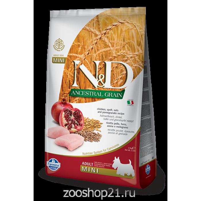Корм Farmina N&D (Low Grain) Chicken & Pomegranate Adult Mini для собак мелких пород с низким содержанием зерна курица и гранат, 800 г